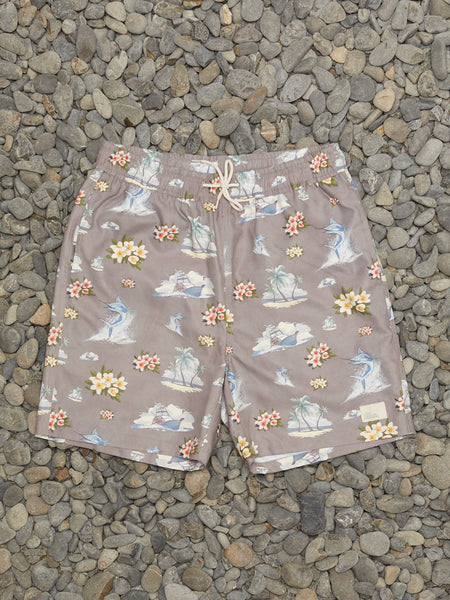 FLORAL MARLIN SHORTS - GREY