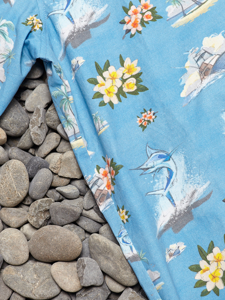 FLORAL MARLIN SHIRT - BLUE