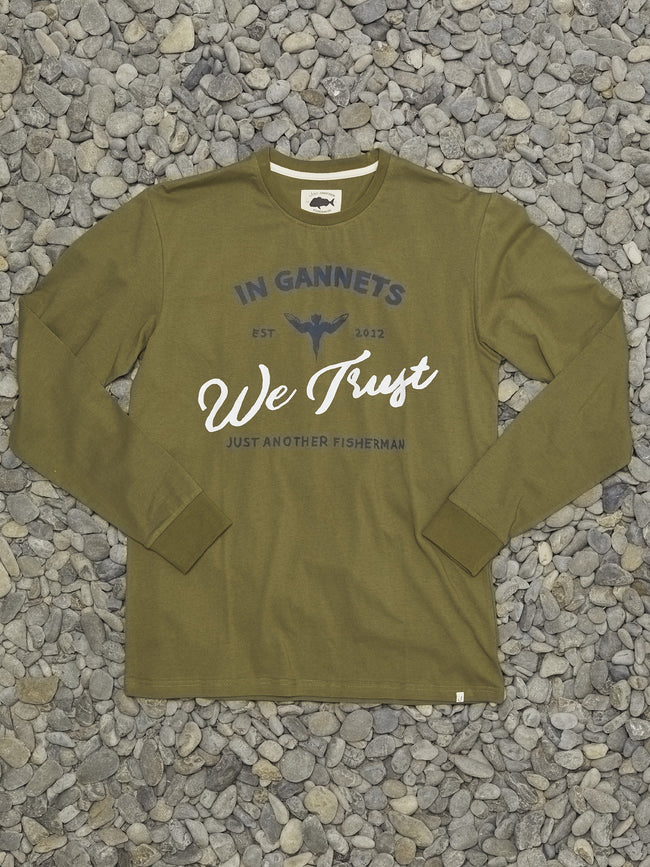 IN GANNETS WE TRUST LS TEE - OLIVE