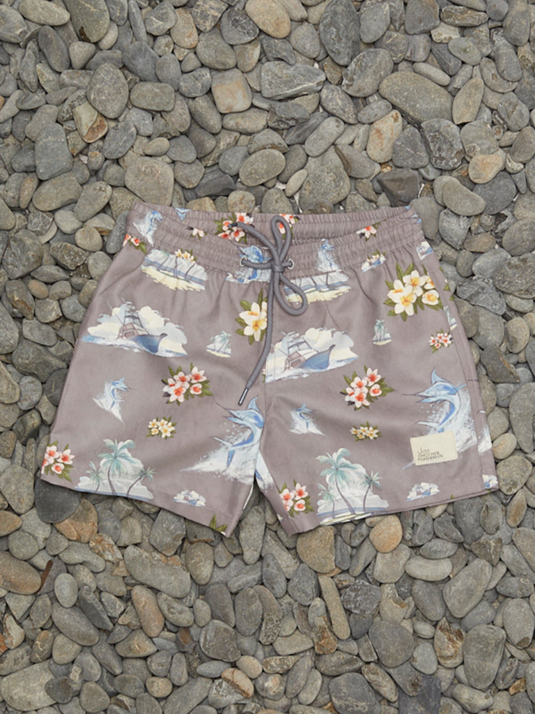 MINI FLORAL MARLIN SHORTS - GREY