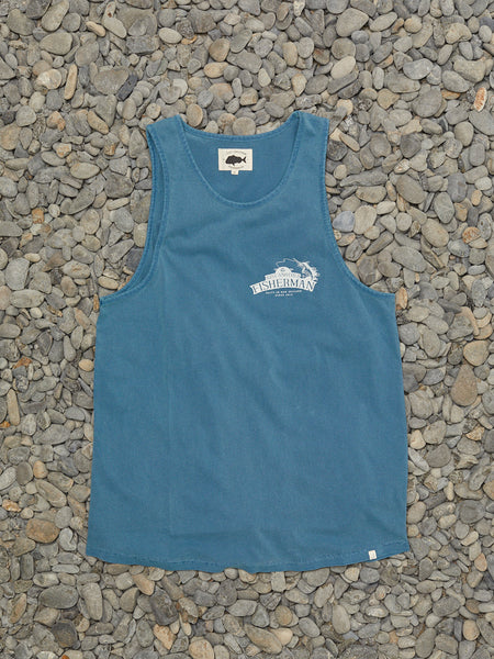 SALTED IN NZ SINGLET - WASHED BLUE