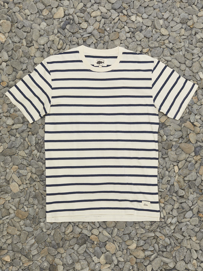 SEA STRIPE TEE - STONE/NAVY