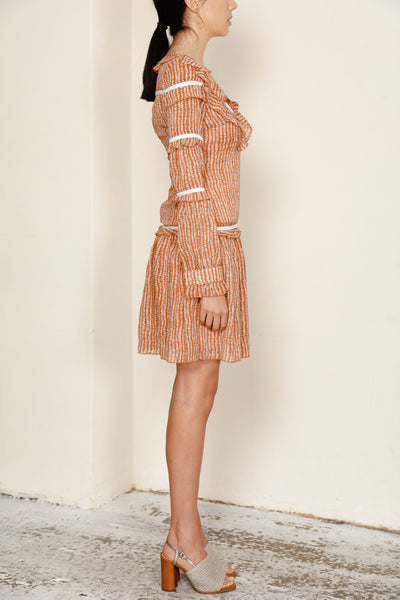 COSMIC FRILL EMBELLISHED V-NECK ALINE DRESS IN RUST
