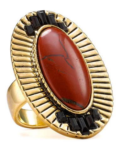 Electric Charge Cocktail Ring - Red Jasper