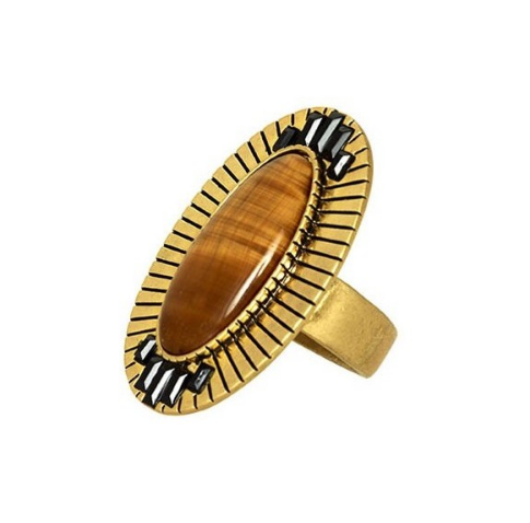 Electric Charge Cocktail Ring - Tigers Eye