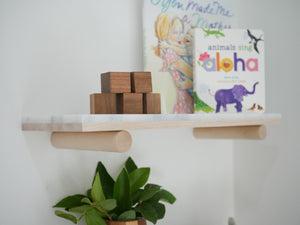 Wall Mount Shelves - Marble & Hardwood