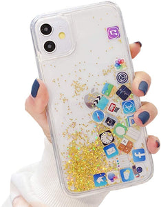 Liquid Glitter App Icons Bling Quicksand Case iPhone 11 / 11 Pro / 11 Pro Max - BingBongBoom