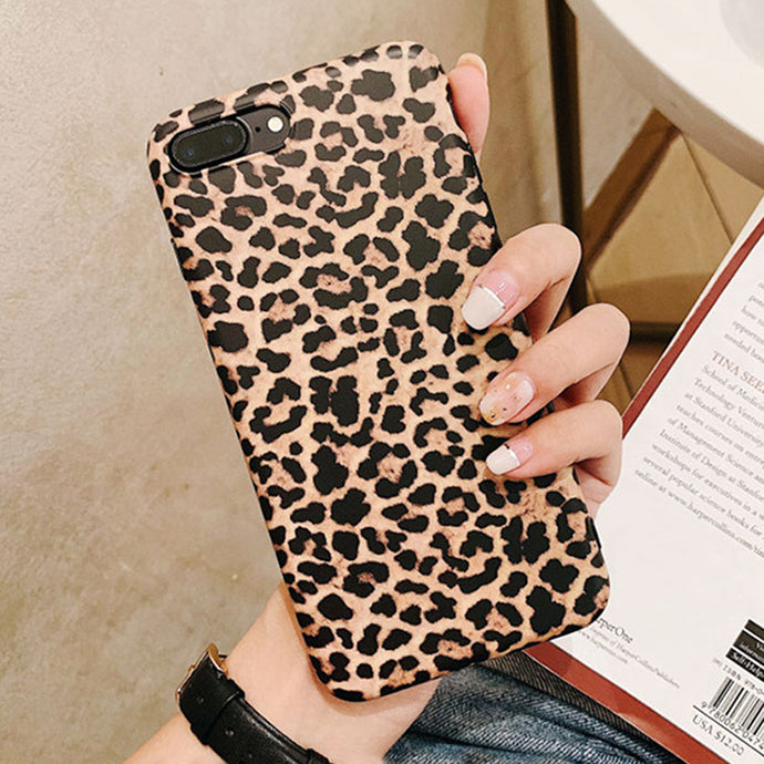 Leopard Print Pattern Soft Rubber Case Cover Apple iPhone 7 or 7 Plus - BingBongBoom