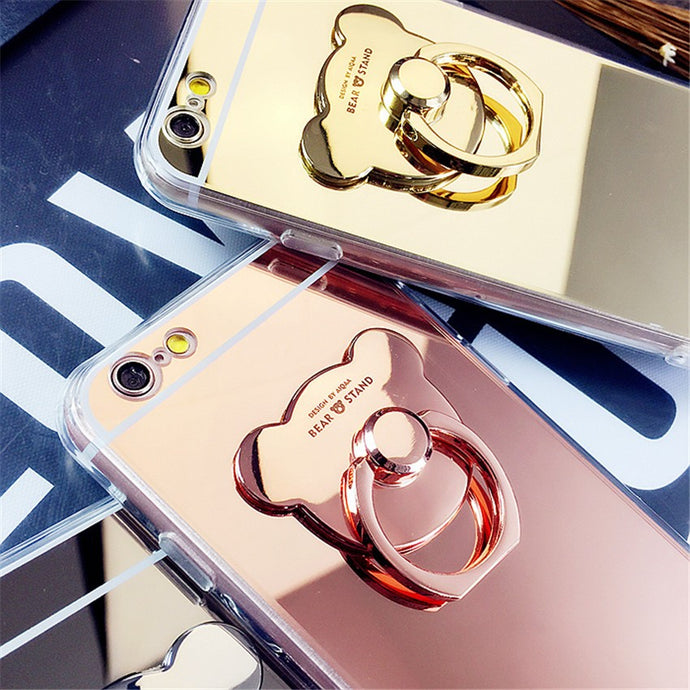 Bear Ring Loop Stand Soft Rubber Case Cover Apple iPhone 7 or 7 Plus - BingBongBoom