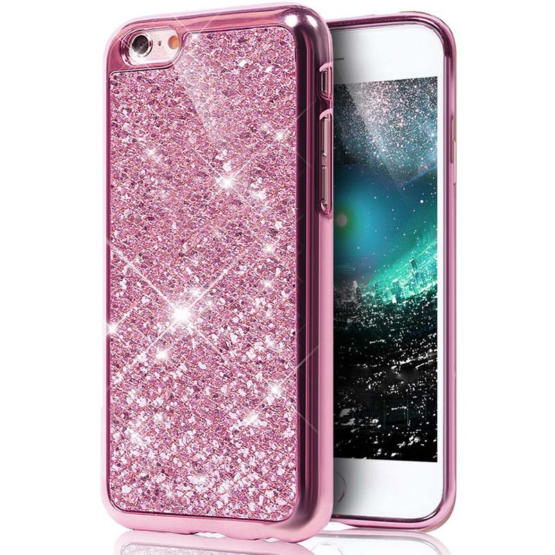 Glitter Bling Diamond Soft Rubber Case Cover Apple iPhone 8 or 8 Plus