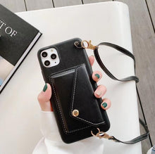Load image into Gallery viewer, Cross Body Strap Leather Card Slot Wallet Case Apple iPhone 11 / 11 Pro / 11 Pro Max