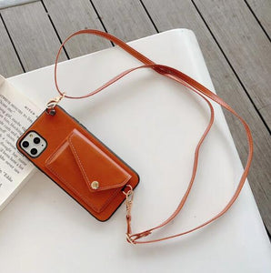 Cross Body Strap Leather Card Slot Wallet Case Apple iPhone 8 or 8 Plus