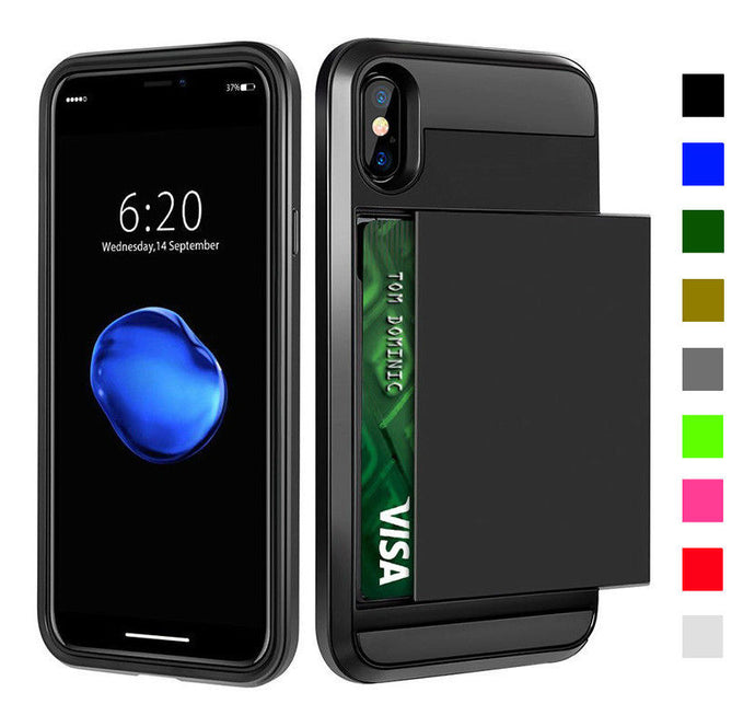 Card Slot Tough Armor Wallet Design Case Apple iPhone X / XS / XR / XS Max - BingBongBoom