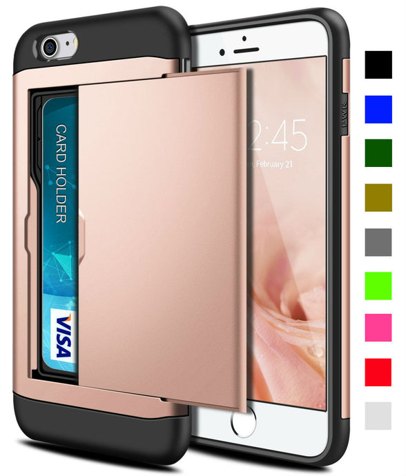 Card Slot Tough Armor Wallet Design Case Apple iPhone 6s or 6s Plus - BingBongBoom