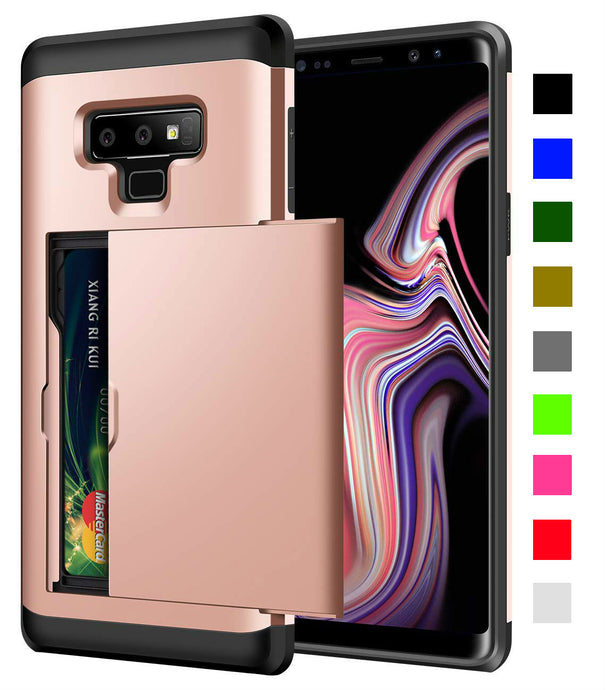 Card Slot Tough Armor Wallet Design Case Samsung Galaxy Note 9 - BingBongBoom
