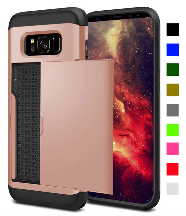 Card Slot Tough Armor Wallet Design Case Samsung Galaxy S8 or S8 Plus - BingBongBoom