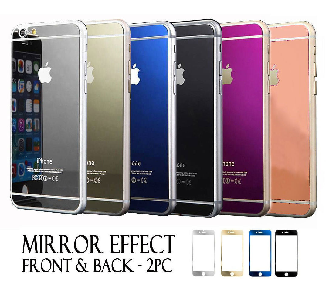 Apple iPhone 6 or 6 Plus Front and Back Colored Mirror Tempered Glass Screen Protector