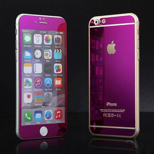 Apple iPhone 7 or 7 Plus Front and Back Colored Mirror Tempered Glass Screen Protector - BingBongBoom