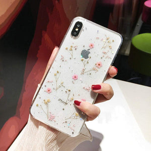 Floral Print Pattern Soft Rubber Case Cover Apple iPhone 8 or 8 Plus - BingBongBoom