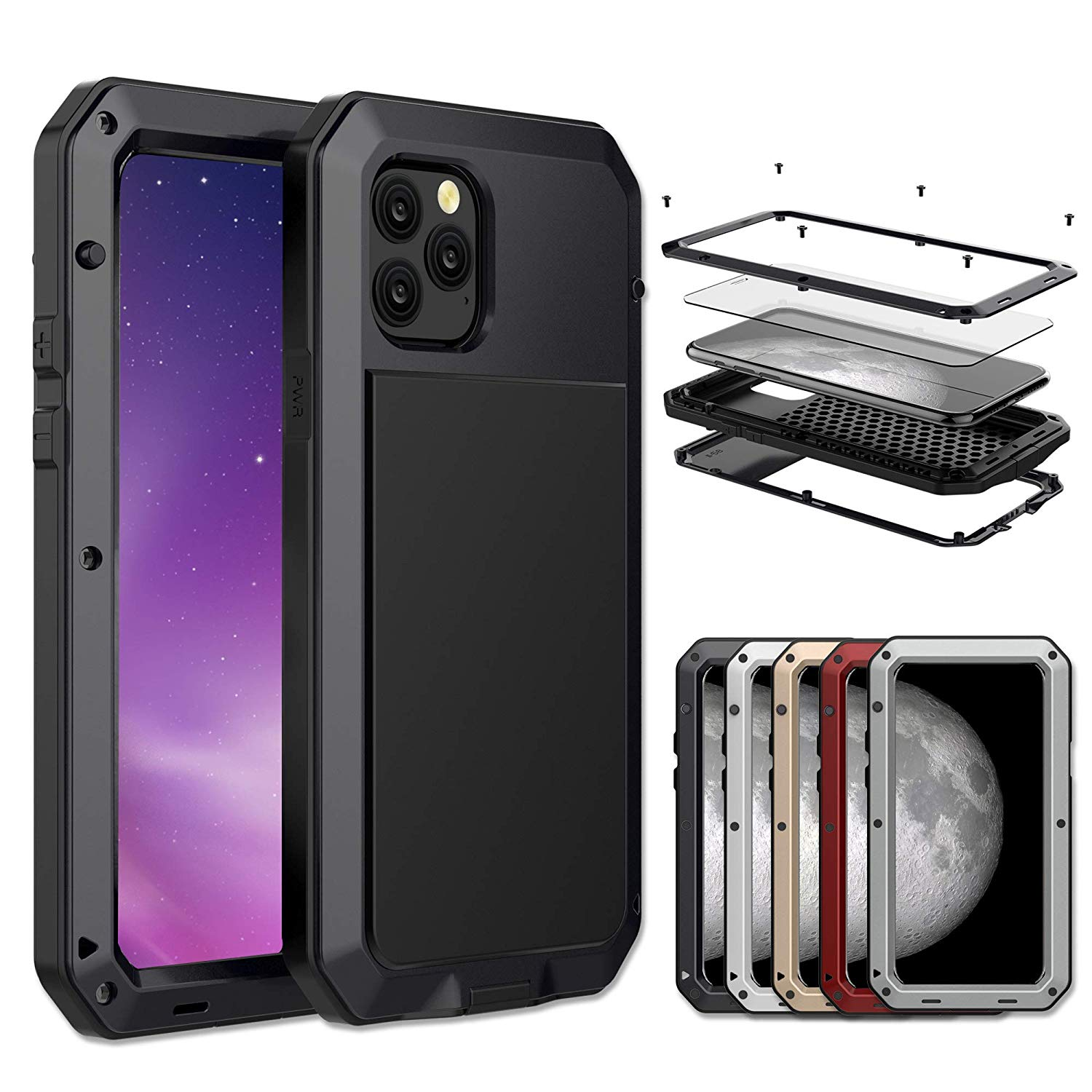 Gorilla Glass Aluminum Alloy Heavy Duty Shockproof Case Apple iPhone 11, 11 Pro or 11 Pro Max