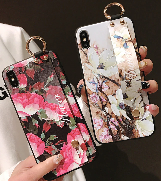 Leather Grip Stand Blossom Series Case Apple iPhone X, XS, XR, or XS Max - BingBongBoom