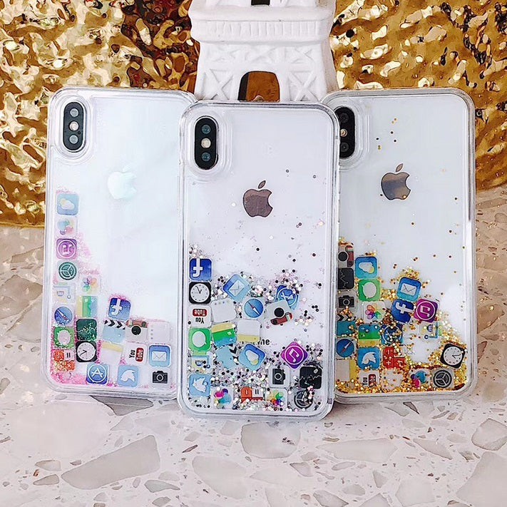 Liquid Glitter App Icons Bling Quicksand Case iPhone X, XS, XR, or XS Max