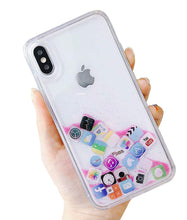 Load image into Gallery viewer, Liquid Glitter App Icons Bling Quicksand Case iPhone 8 or 8 Plus - BingBongBoom