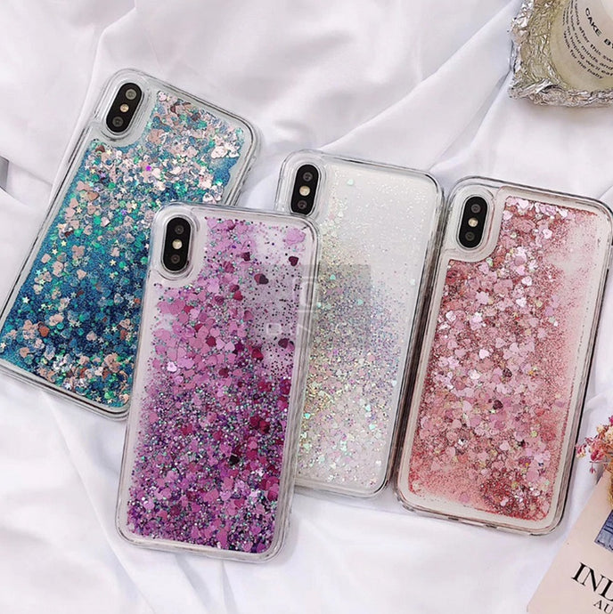 Liquid Glitter Heart Shapes Bling Quicksand Case iPhone X, XS, XR, or XS Max