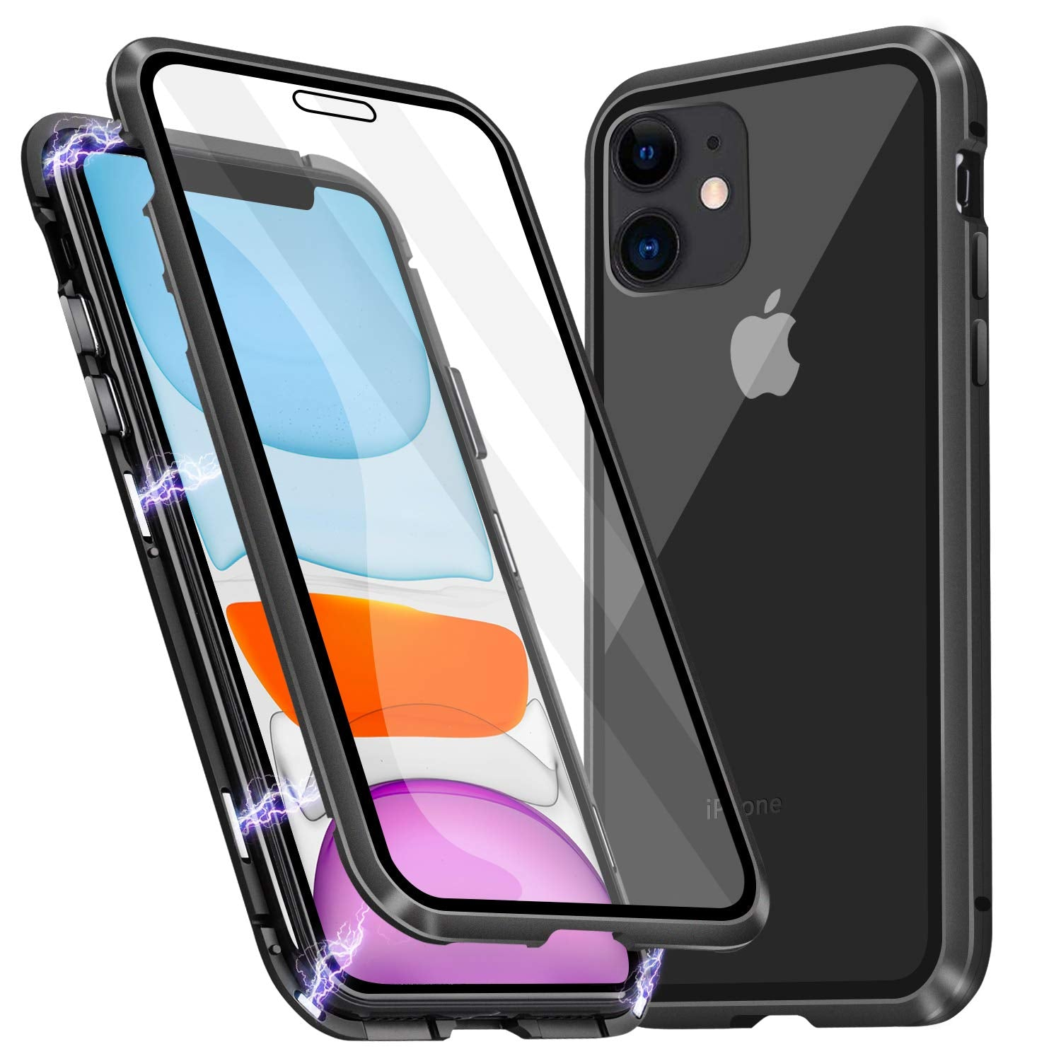 Magnetic Adsorption Metal Case With Tempered Glass Apple iPhone 11, 11 Pro, or 11 Pro Max