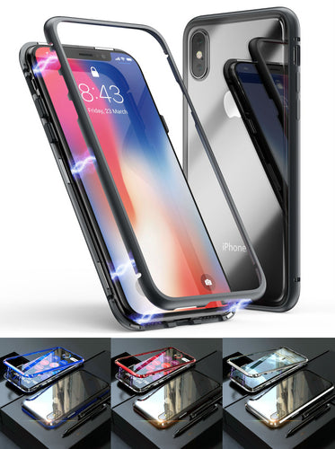 Magnetic Adsorption Metal Case With Tempered Glass For Apple iPhone X, XS, XR, or XS Max - BingBongBoom