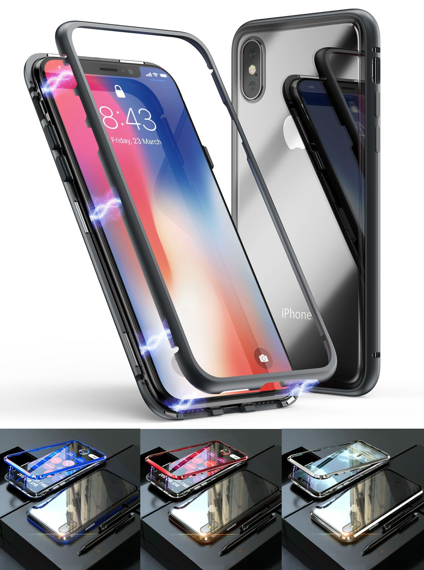 Magnetic Adsorption Metal Case With Tempered Glass Apple iPhone 8 or 8 Plus