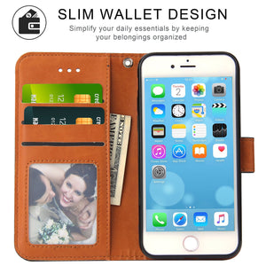 Leather Wallet Magnetic Flip Case with strap Apple iPhone 6s or 6s Plus - BingBongBoom
