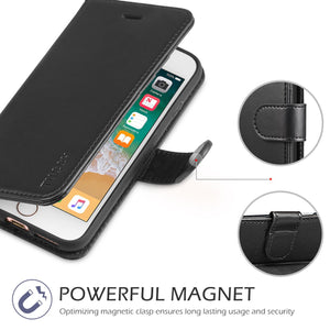 Leather Wallet Magnetic Flip Case with strap Apple iPhone 7 or 7 Plus - BingBongBoom