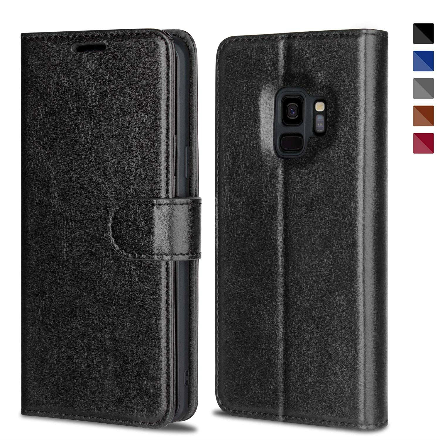 Leather Wallet Magnetic Flip Case with strap Samsung Galaxy S8 or S8 Plus