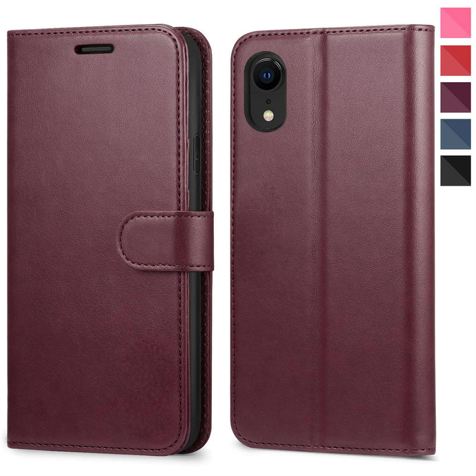 Leather Wallet Magnetic Flip Case with strap Apple iPhone X, XS, XR, or XS Max - BingBongBoom