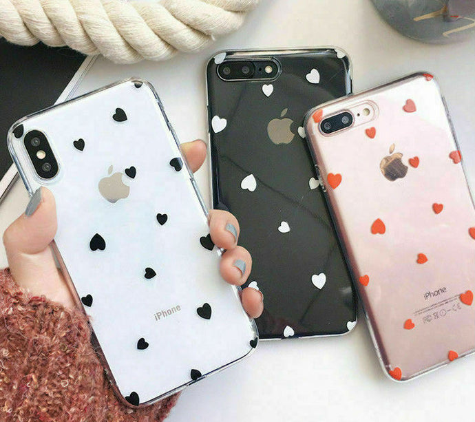 Heart Shape Print Pattern Soft Rubber Case Cover Apple iPhone SE 2020 (Gen2) - BingBongBoom