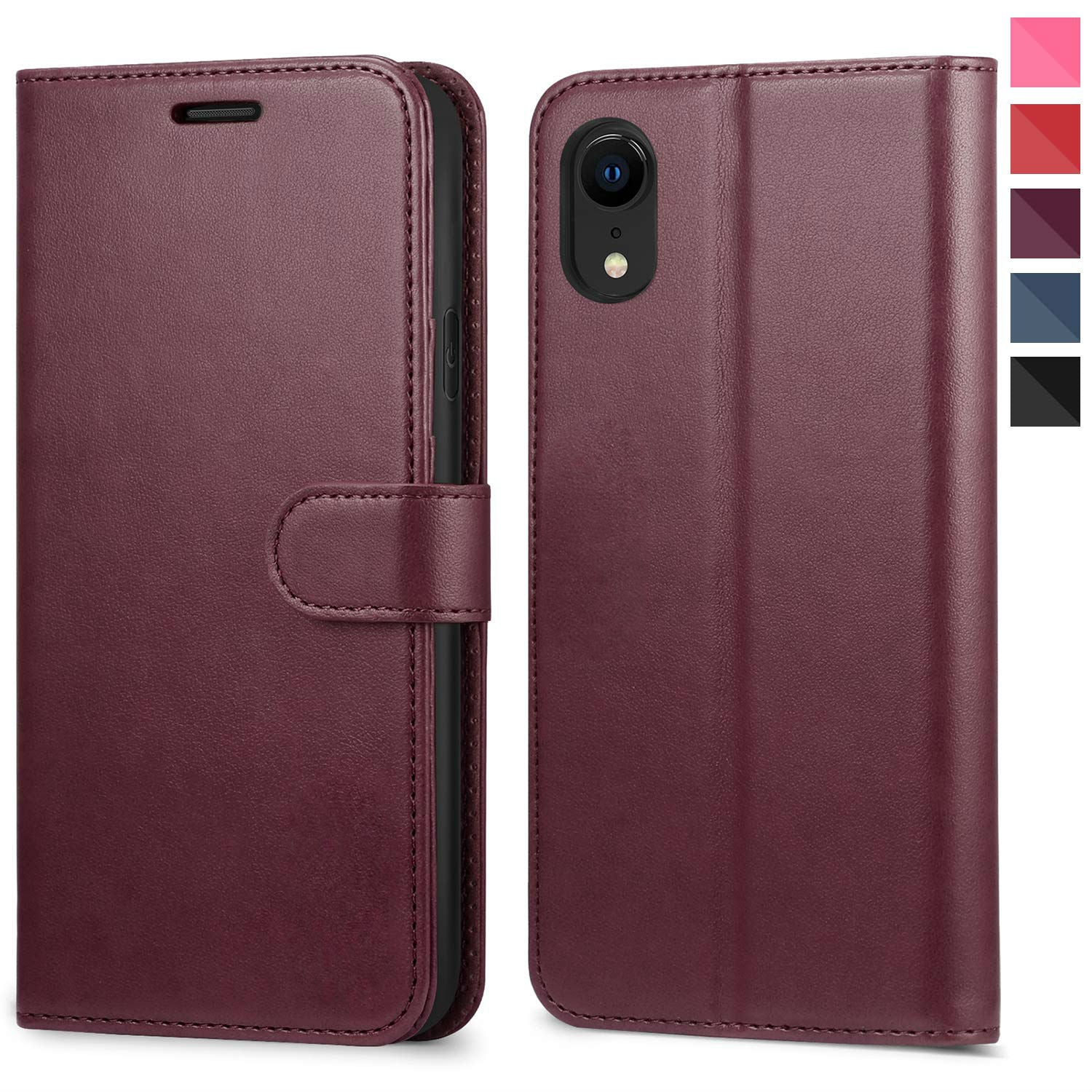 Leather Wallet Magnetic Flip Case with strap Apple iPhone 8 or 8 Plus