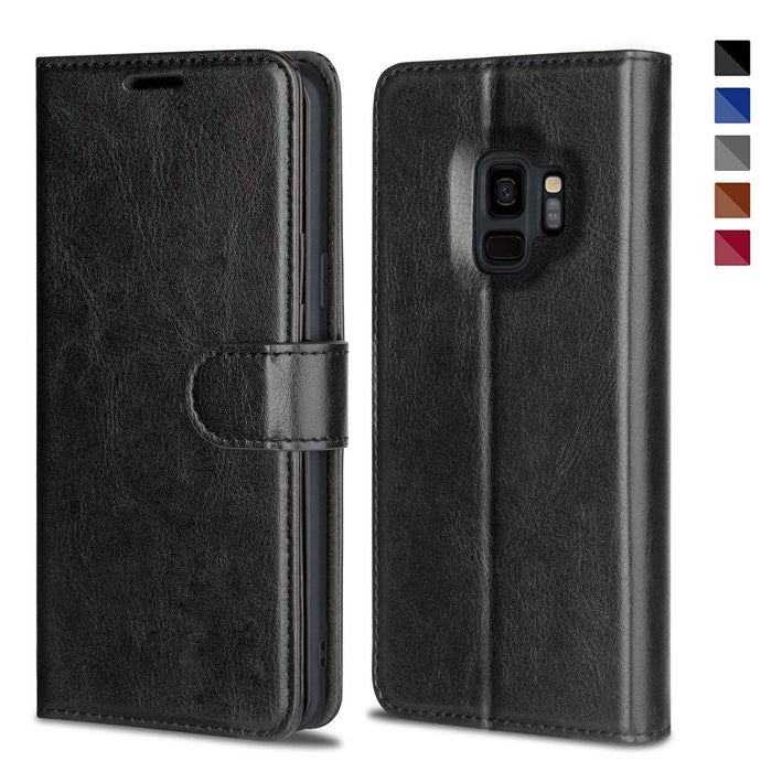 Leather Wallet Magnetic Flip Case with strap for Samsung Galaxy S9 or S9 Plus - BingBongBoom