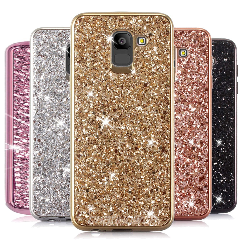 Glitter Bling Diamond Soft Rubber Case Cover Samsung Galaxy S9 or S9 Plus