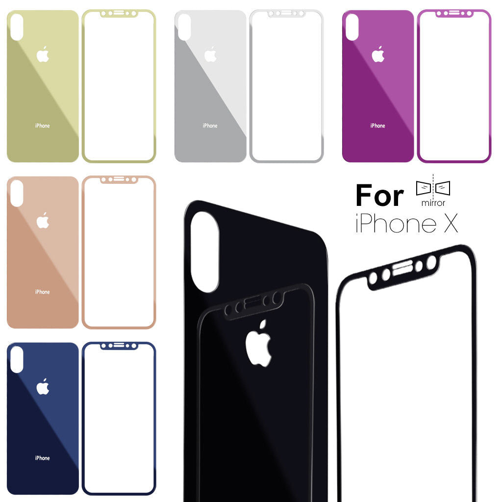 Apple iPhone X Front and Back Colored Mirror Tempered Glass Screen Protector - BingBongBoom