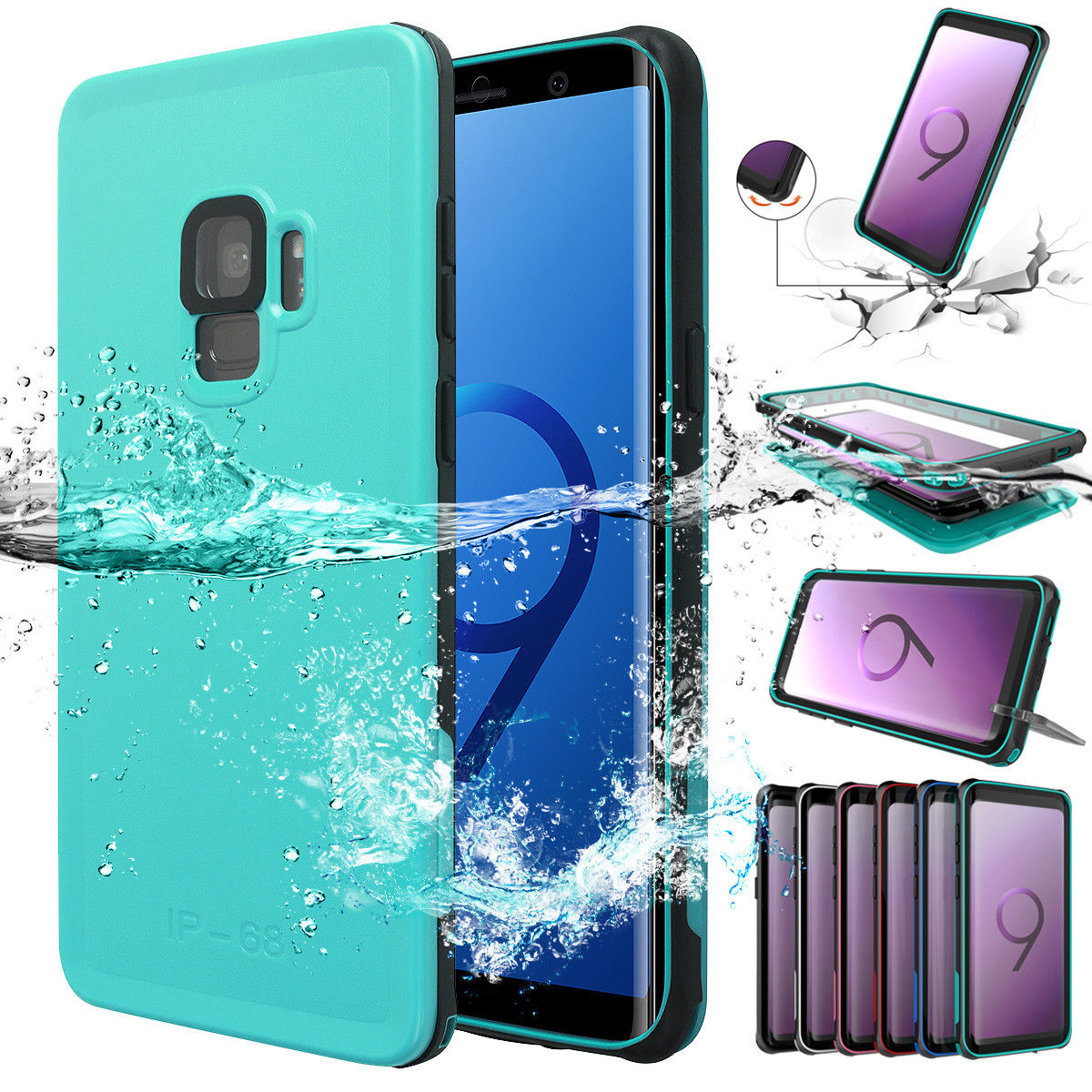 Waterproof Complete Enclosing Case Samsung Galaxy S9 or S9 Plus