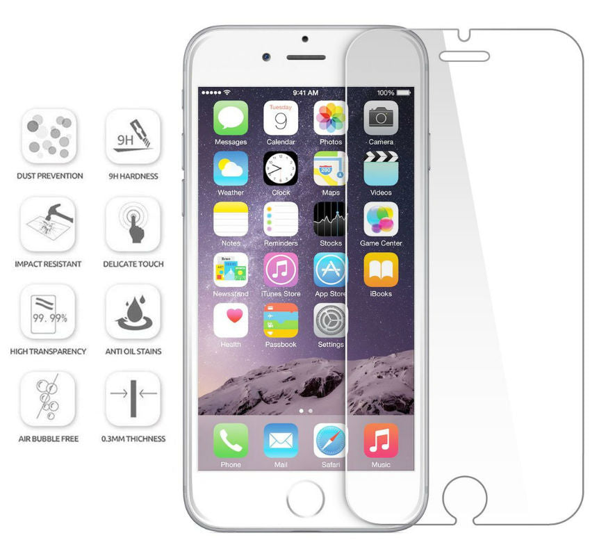 Tempered Glass Screen Protector Apple iPhone 6, 6 Plus, 6s, or 6s Plus