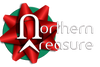 Northern Treasure company logo and back to home page button - Christmas version