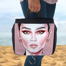 Load image into Gallery viewer, Berlin Take Anywhere Hanging Toiletry Bag - Red Eyeliner by AhVero-Ahvero, royalty, travel, accessories-Northern Treasure