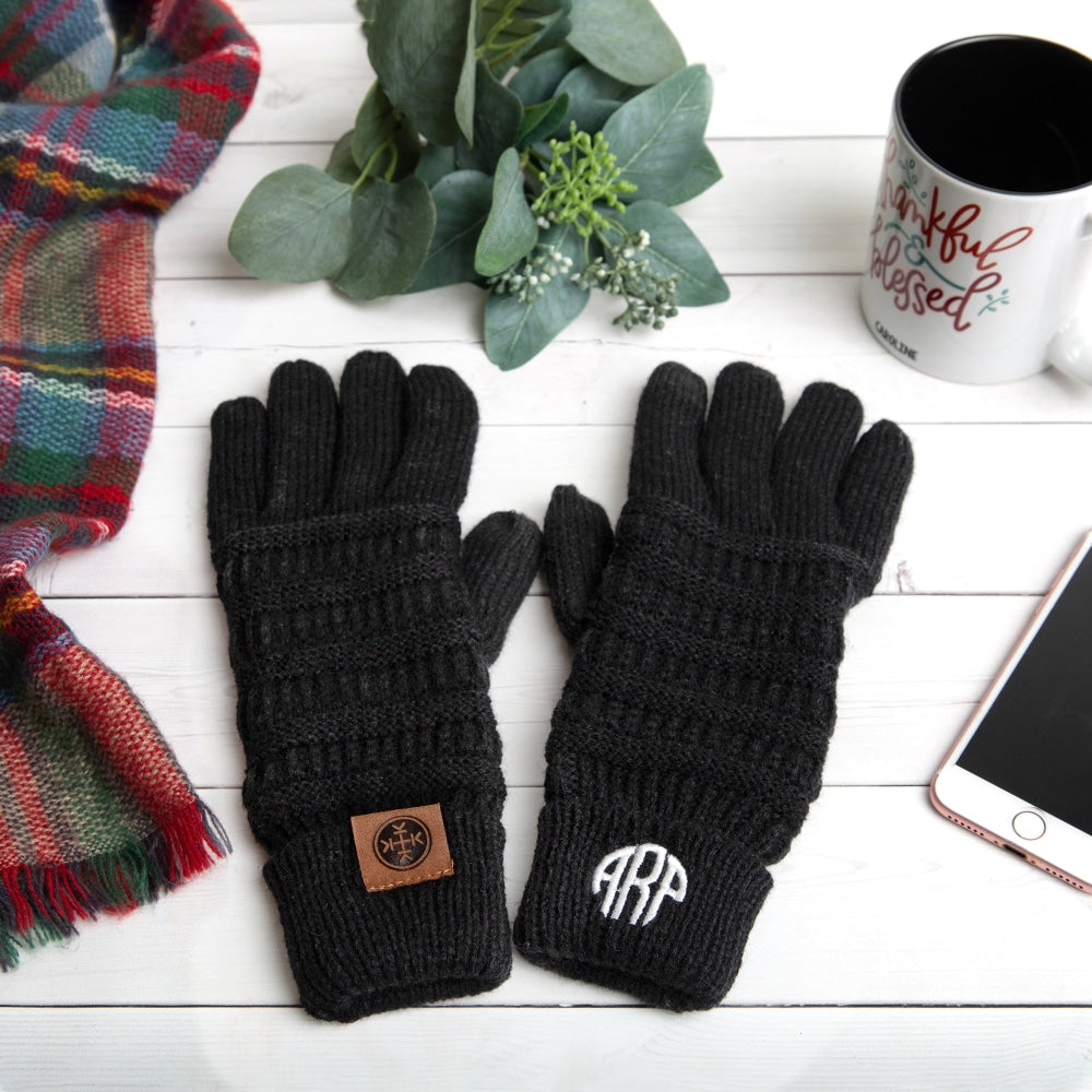 Custom Monogram Touchscreen Friendly Gloves-Monogrammed Personalized Products, make it your own, accessories-Northern Treasure