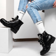 Load image into Gallery viewer, Black Foot White Leg Socks-Moustafa, royalty, socks, accessories-Northern Treasure