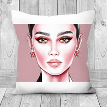 Load image into Gallery viewer, Red Eyeliner by AhVero Handmade Poly Linen Cushion Covers with Double Sided Print-home decor, ahvero, royalty-Northern Treasure