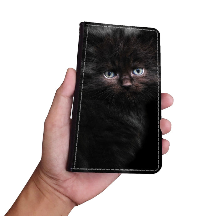 Wallet Style Faux Leather Phone Case - Black Kitty Cat-Accessories, Wallet Case, phone case, cat couture-Northern Treasure
