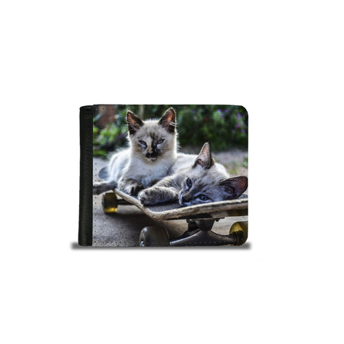 Handmade Men's 2 Fold Wallet - Cool Skater Cats-Wallet, accessories-Northern Treasure