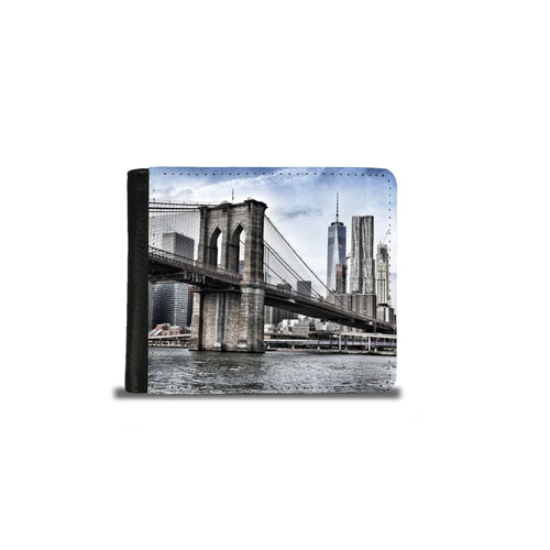 Handmade Men's 2 Fold Wallet - Brooklyn Bridge NYC-Wallet, accessories-Northern Treasure